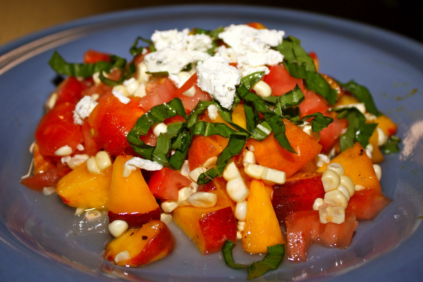 ... girl in dc: Summer Sweet Corn, Peach & Tomato Salad with Goat Cheese