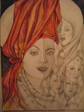 Mascara con paño rojo