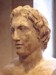 Busto de Alejandro conocido como «Herma de Azara». Copia romana en mármol de un original de Lisipo,