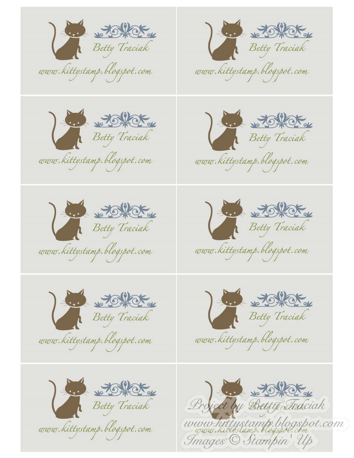 Kitty Stamp Tutorial for Making Business Cards with My