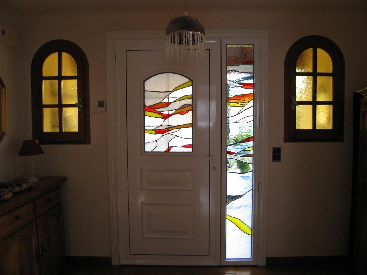 Vitrail porte d 39 entr e atelier de cr ations de vitraux uni verre - Porte d entree avec vitrail ...