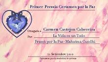 PRIMER PREMIO DE POESÍA POR LA PAZ EN RED PARNASSUS PARA CARMEN CASTEJÓN CABECEIRA