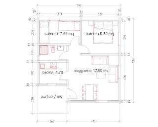 Progetti di case in legno casa 52 mq portico 7 mq for Progetti di casa sollevati