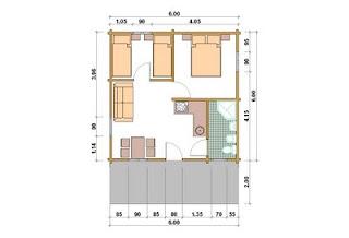 Progetti di case in legno casetta 36 mq terrazza for Modello di casa bungalow
