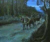carruaje en el bosque