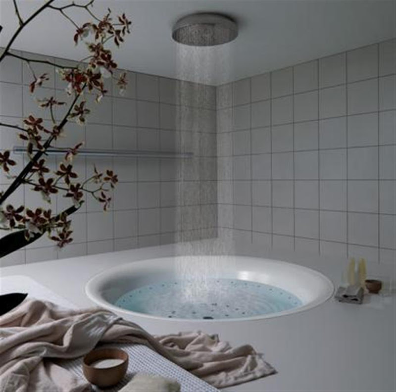 Luxury bathroom bathtub shower and decoration title=