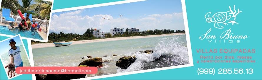 Renta de Villas de San Bruno y La Casita de Telchac en las playas de Yucatán