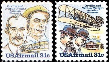 Sellos americanos de 31c, de Orville y Wilbur Wright