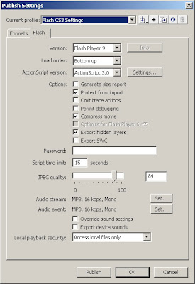 Flash CS3 Publish Settings Window