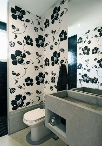 imagens decoracao lavabo : imagens decoracao lavabo:Não gosto do vaso escuro, mas o papel é interessante