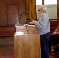 Board member Mary Elizabeth McCarthy gives her testimony.
