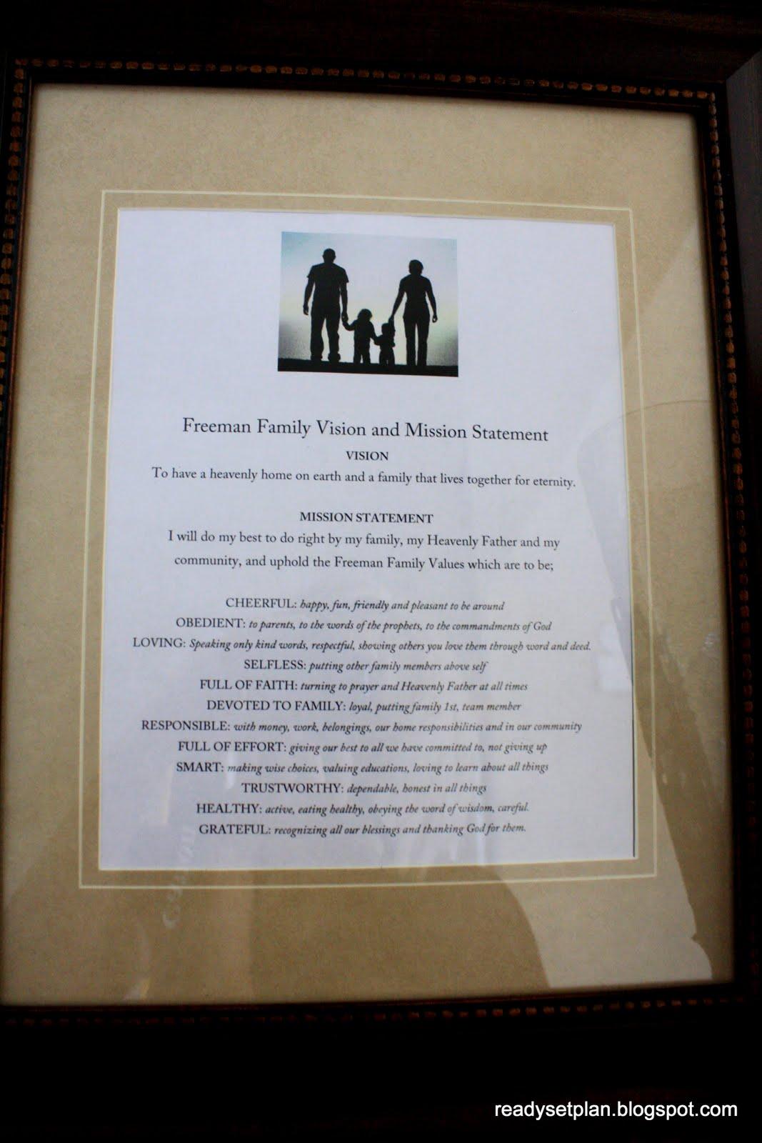 ready set plan  family mission statement