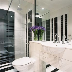 Renovated Black and White Bathroom