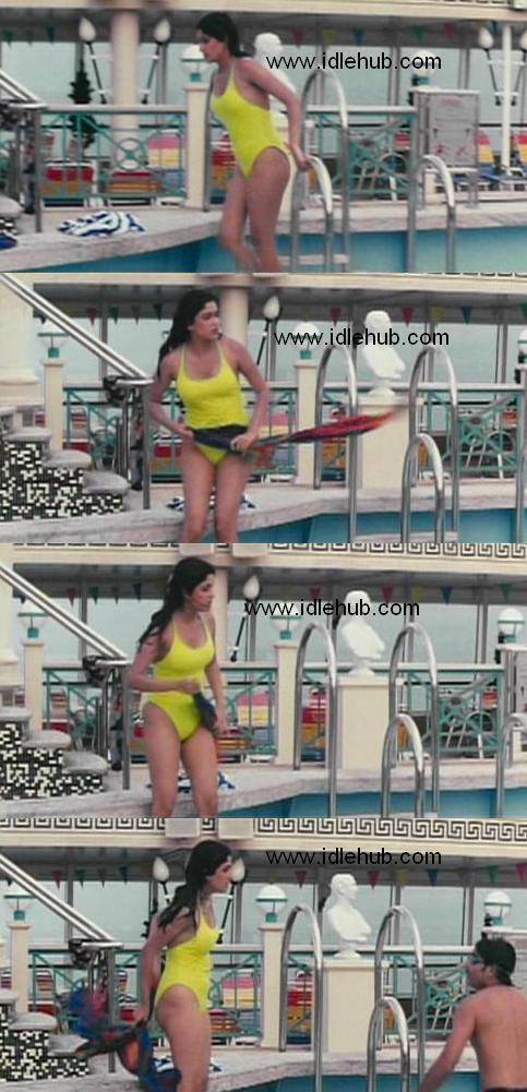 Anjala Jhaveri - S-exposing in swimsuit on the ship in tamil 'Shankar'