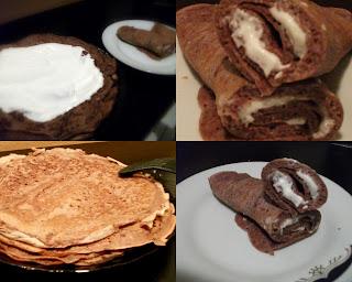 Articole culinare : Clatite pufoase cu cacao , umplute cu frisca