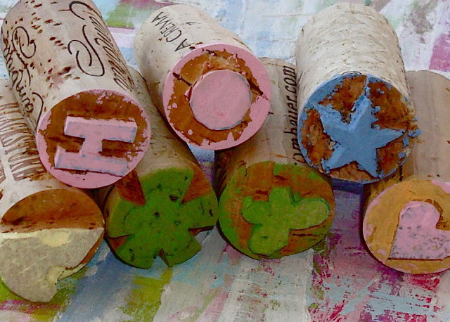 extra saved wine cork stamps craft DIY
