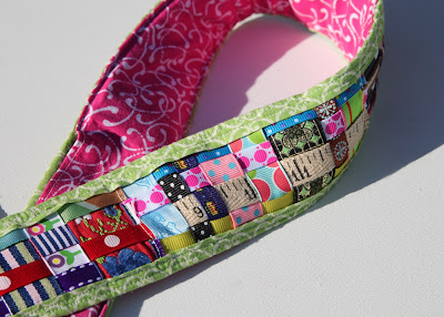 Scrap Ribbon Camera Strap Cover (A Tutorial) finished via lilblueboo.com