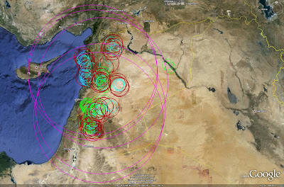 Imint analysis syrian strategic sam deployment syrian air defense sites using the same color scheme applied in the previous image s 75 range rings are red s 125 rings are blue s 200 rings are gumiabroncs Image collections