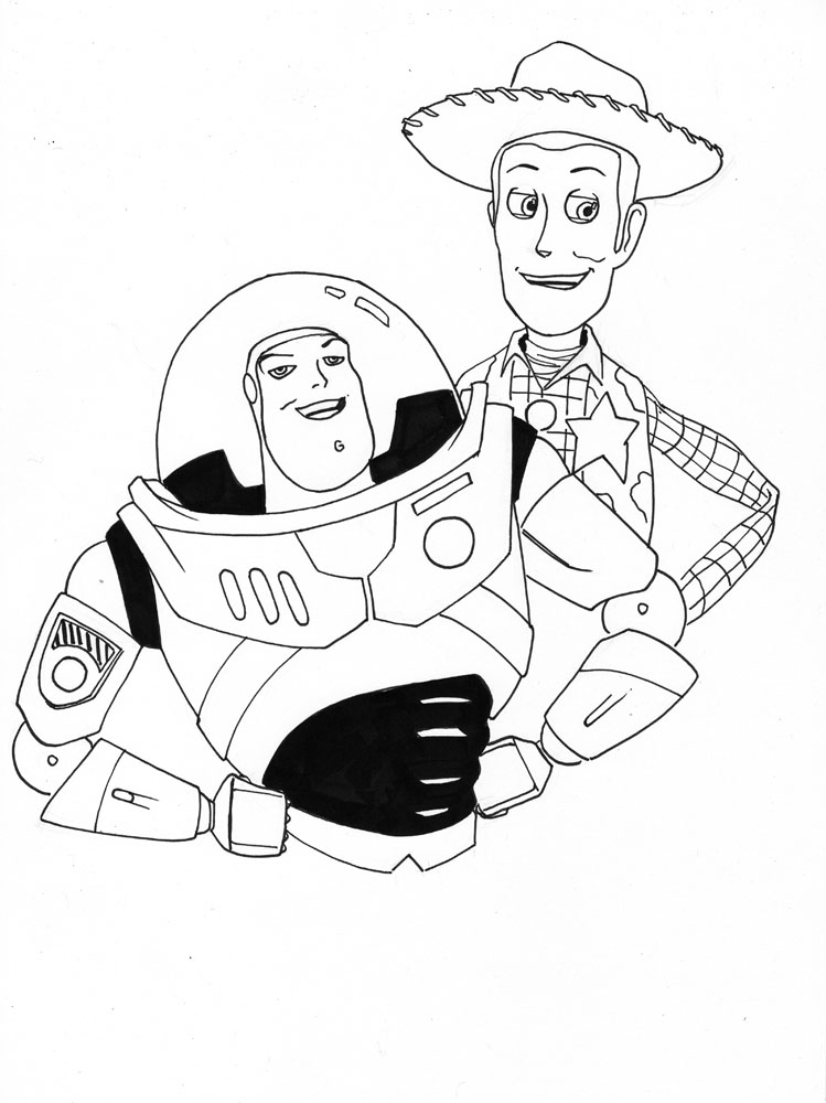 Buzz and Woody Coloring Pages