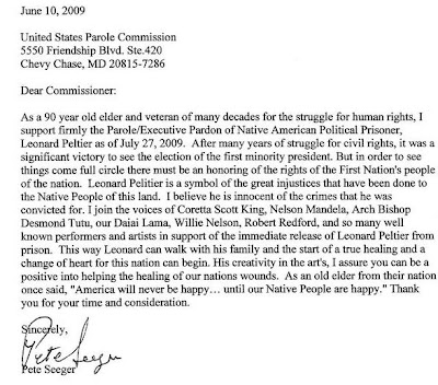 Leonard Peltier Defense Offense Committee: Pete Seeger Supports ...