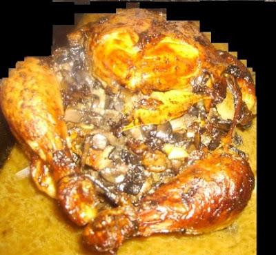 Articole culinare : Pui umplut cu: ciuperci, costita si legume la tava
