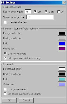 Janela de configuração do Color Toggle.