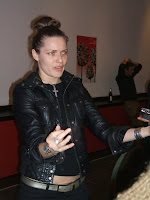 Director Rie Ramussen holds court after the screening of her film, Human Zoo, at the Berlinale