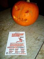 Ladyfest Ten flyer with pumpkin; photo by Val Phoenix