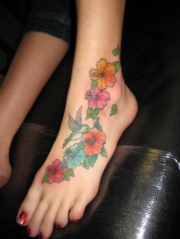 The most popular foot tattoo designs are flower