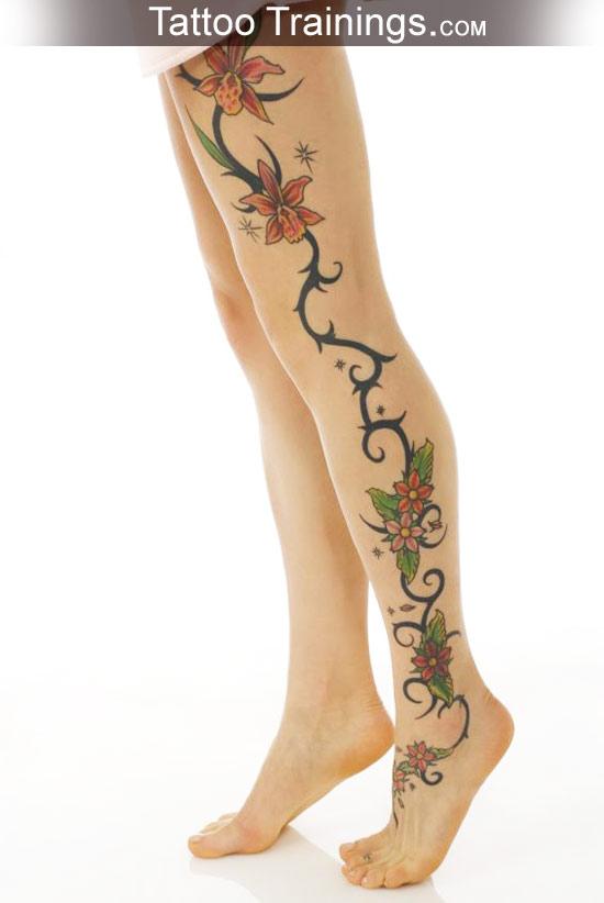 Marquesan tattoo beautiful flower tattoo on foot for Floral leg tattoo designs