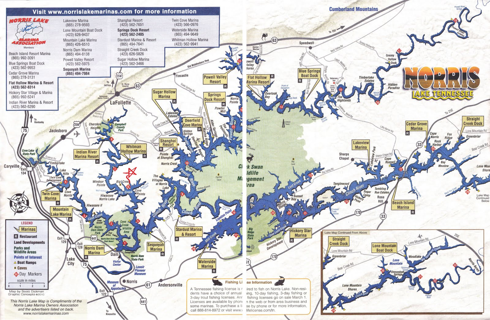 click on the norris lake map to enlarge and see where our vacation rental property is located