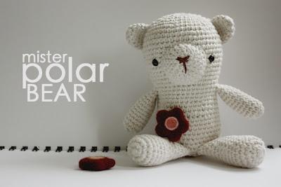 yarn hand crocheted polar bear toy
