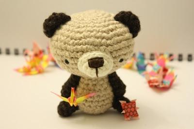 yarn hand crocheted bear toy
