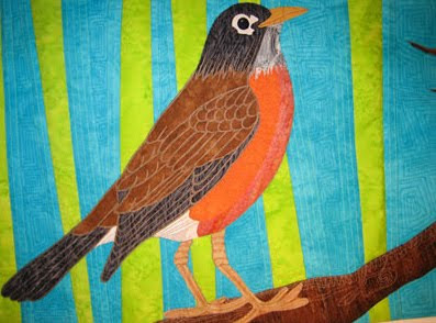 spring red breasted robin quilt