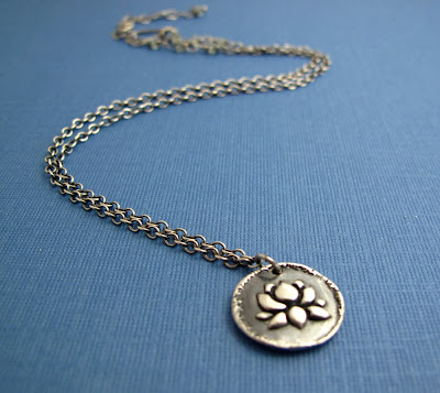 silver lotus blossom yoga inspired necklace