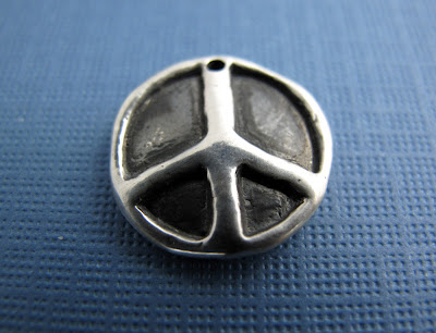 silver peace sign charm new age