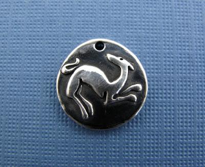 silver greyhound whippet puppy dog charm jewelry