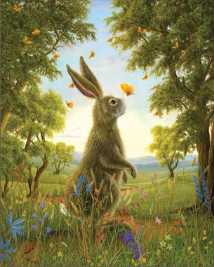 rabbit butterfly painting robert bissell
