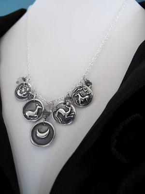 silver charm necklace animal moon rabbit