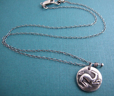 silver greyhound dog charm necklace