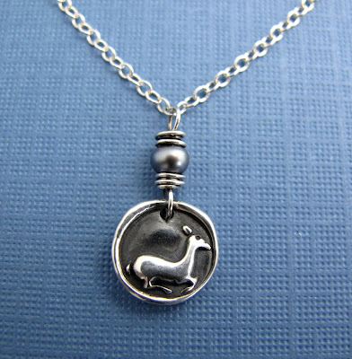 silver deer fawn charm necklace jewelry