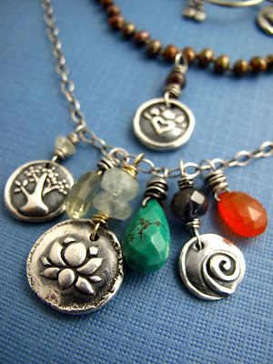lotus blossom karma necklace silver charm jewelry