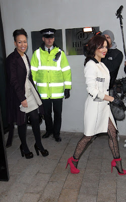 Cheryl Cole leaving the Hilton hotel in Liverpool