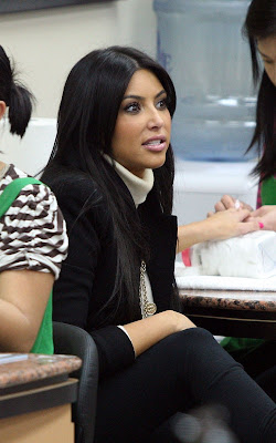 Kim Kardashian out getting her nails done up