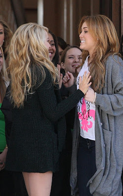 Miley Cyrus busy on the set of So Undercover