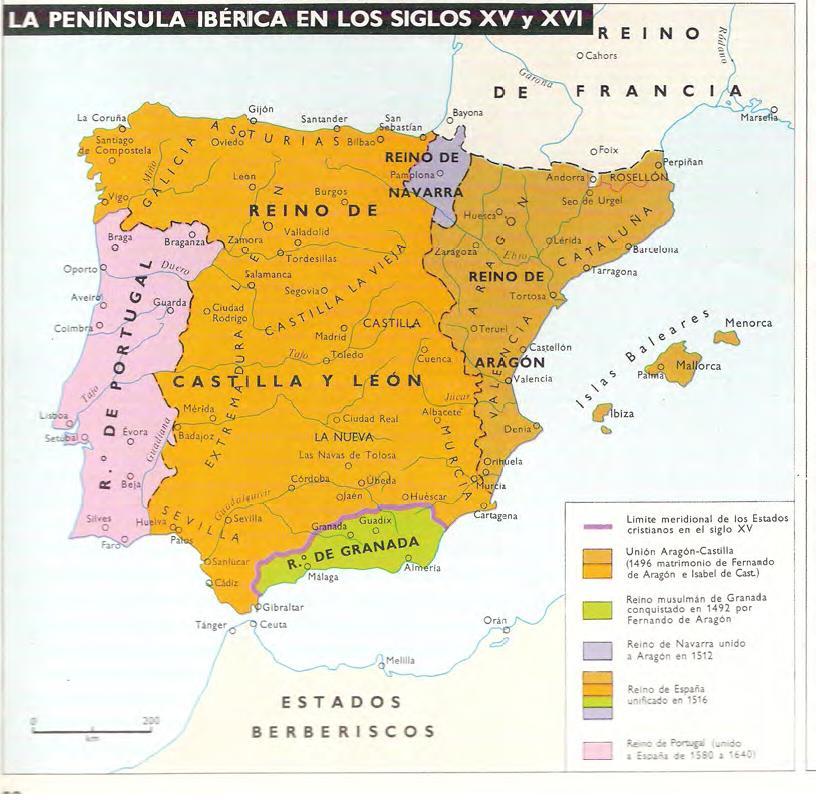 Mapa  La Pennsula Ibrica en los Siglos XV y XVI The Iberian