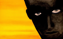 Black face over orange