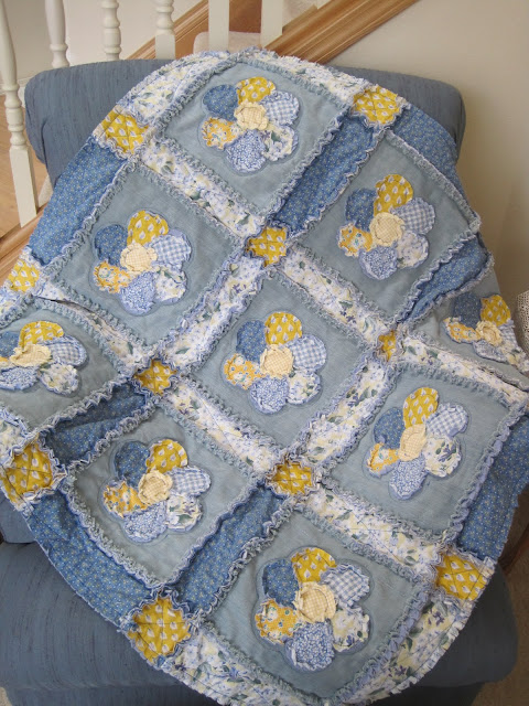 Tomila S Treasures Denim And Cotton Flower Patch Rag Quilt