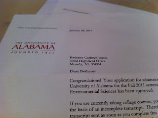 When Does University Of Alabama Send Acceptance Letters