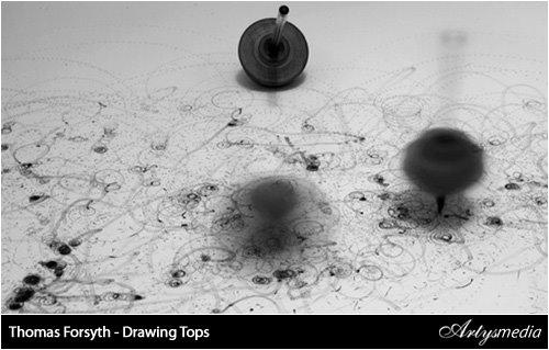 Dibujando con peonzas
